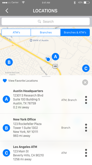 Daniel Falquez - UX Portfolio - Branch and ATM Locations finder