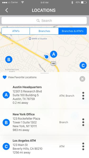 Daniel Falquez - UX Portfolio - Branch and ATM Locations finder